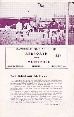 ARBROATH v MONTROSE FOOTBALL PROGRAMME ~ 6 MARCH 1971 ~ EXCELLENT CONDITION