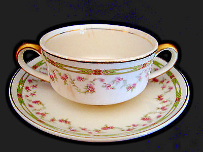 taylor smith taylor Iona white & floral porcelain Cream soup cup and saucer.