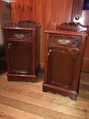 Hand Wood Carved Antique Reproduction Bedside Tables