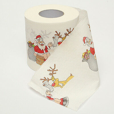 1/2 Roll Merry Christmas Santa Claus Toilet Paper Living Room Table Decoration