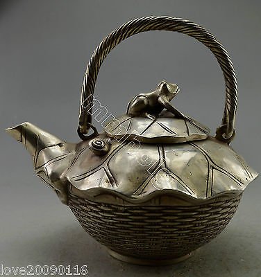 Collectible Decor Old Handwork Silver Plate Copper Frog Lotus Basket Big Tea Pot