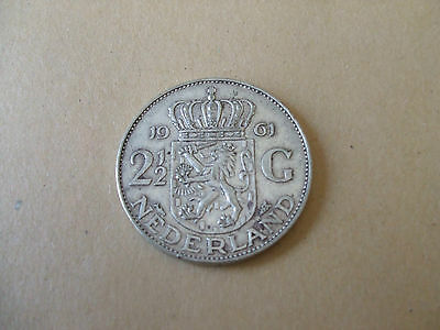 Netherlands 2 1/2 Gulden Silver 1961 Juliana