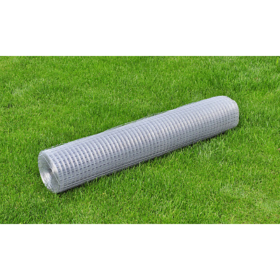 1x25M Chicken Wire Pet Mesh Fence Fencing Coop Aviary Hutch Galvanised Tetragon