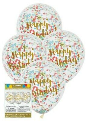 Clear 12in Happy Birthday Latex Balloons with Multi Colour Confetti Pk 6