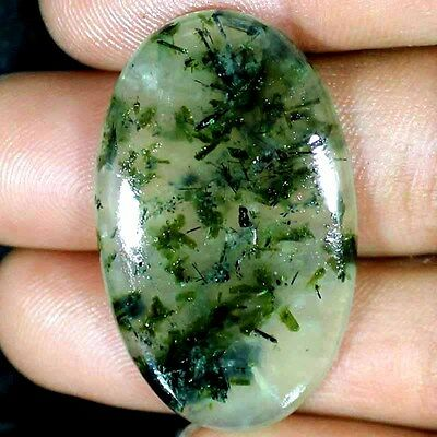 26X42X5 MM~ 59.30 CTs 100% NATURAL AFRICAN PREHNITE OVAL CABOCHON LOOSE GEMSTONE