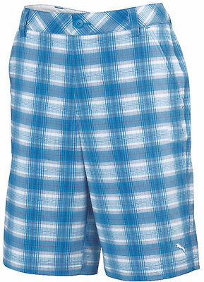 Puma Blur Plaid Tech Mens Golf Shorts - Blue