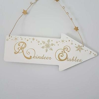 Wooden Reindeer Stables Chic Shabby Gold & White Christmas Arrow