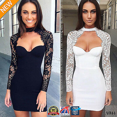 Women Sexy Party Long Sleeve Lace Bandage Cocktail Evening Bodycon Dress A044
