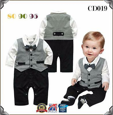 Baby Boys Toddler Gentleman Suit Romper Jumpsuit Bodysuit Clothes Outfit CD019
