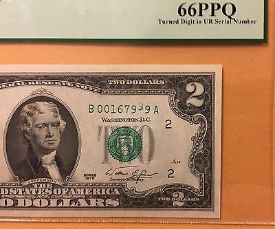 $2 1976 Error Note PCGS 66PPQ TURNED DIGIT Upper Right Serial Number