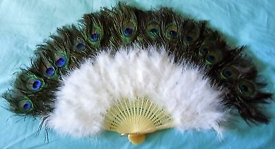 Vintage Peacock & White Maribou Feather Hand Fan, Costume Victorian Old West