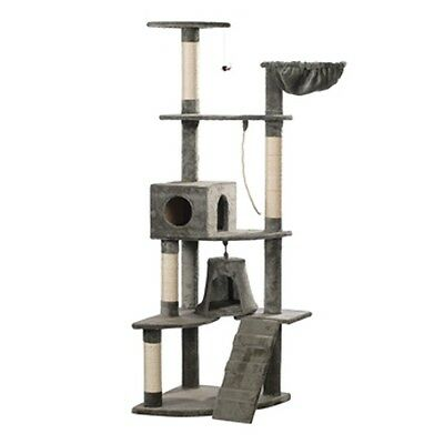Cat Tree 191 Pet Scratcher Post Poles House Gym Condo Furniture Scratching Grey
