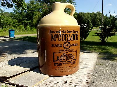 vtg antique Missouri Stoneware McCormick pony express bourbon Whiskey Bottle Jug
