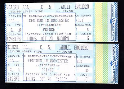 2 1988 Prince at the Worcester Centrum Concert Tickets Lovesexy Tour