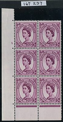 1955 QEII Edward Crown 6d Cyl 1 block on PINK TINTED PAPER RPS Cert SG S105c