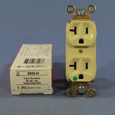 Pass and Seymour Ivory HOSPITAL GRADE Receptacle SLIM Duplex Outlet 20A 8300-HI