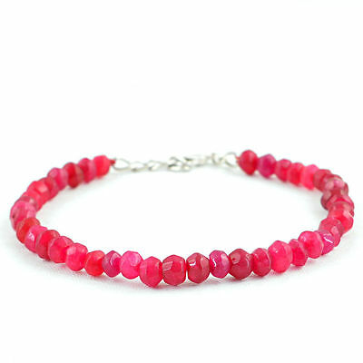 Genuine 63.20 Cts Earth Mined Rich Red Ruby Round Shaped Faceted Beads Bracelet