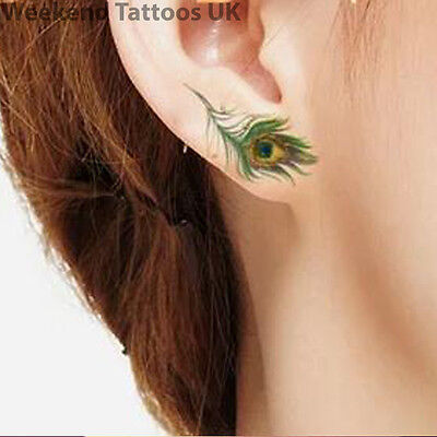 Small Peacock Bird Feathers Ear Temporary Tattoo Sticker Art Body Sticker