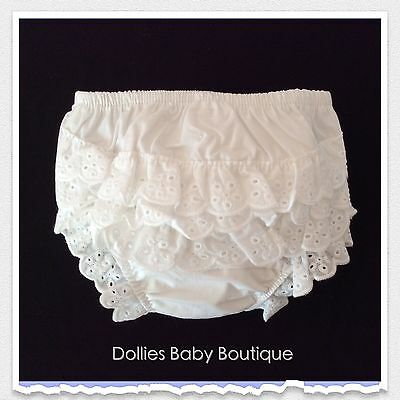 Baby Girl's Frilly Knickers 100% Cotton Frilled Pants White Embroidery Anglaise