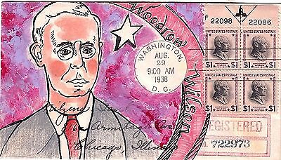 832 FDC PLATE BLOCK HAND PAINTED PREXIE Top Centered Arrow Woodrow Wilson $1.00