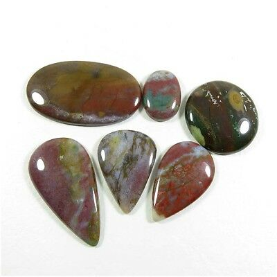 147.65Cts. NATURAL BLOODSTONE CABOCHON LOOSE GEMSTONE 6 Pcs. WHOLESALE LOT BD-55
