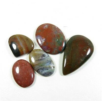 AMAZING! 149.85Cts. NATURAL BLOODSTONE CABOCHON LOOSE GEMSTONE 5 Pcs. LOT BD-53