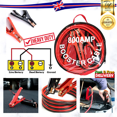NEW 800amp 3.5m Long Heavy Duty Battery Jump Start Leads Cable Car Van Boost