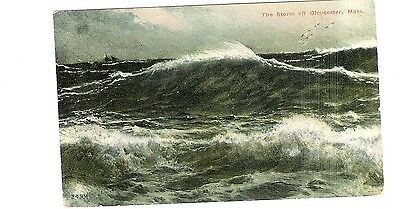 Vintage Postcard - The Storm Off Gloucester, Ma - Posted 1912