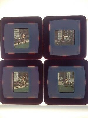 Lot of 4 Vintage 1940s Kodachrome Boy with Bicycle Photograph Color Slides