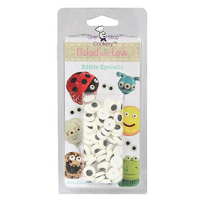 Edible Sugar EYEBALLS Cake Decorations Pack of 50 EYES by Baked with Love