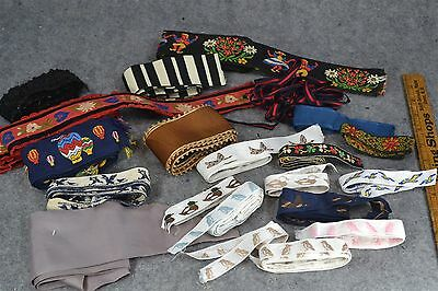 ribbon trim yards silk embroidered lot doll clothes, repairs antique original