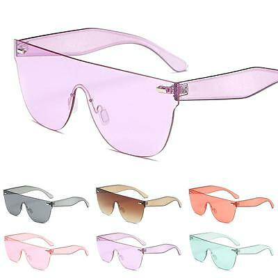 Women Rimless Goggle Sunglasses Candy Color Integrated Square Clear Sunglasses
