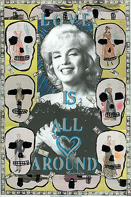 Marylin Monroes Love is all around.  Mixed media Collage  Indalecio