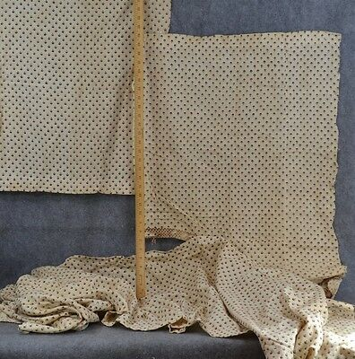 fabric cotton 19th c white brown calico remnant homespun  antique original