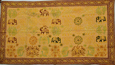 Tapest Vintage Elephant Embroidery Cotton Wall Hanging Home Decor Tapestry Throw