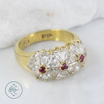 Sterling Silver | Gold Plate Crystal Ruby Flowers Band 6.8g | Ring (7) NC9093