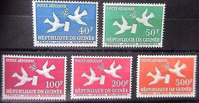 Guinea 1959 Definitive Top 5 Values of Set. MNH.