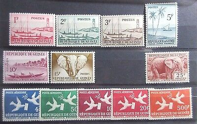 Guinea 1959 Definitive Stamps Set (Excluding SG 207). MNH
