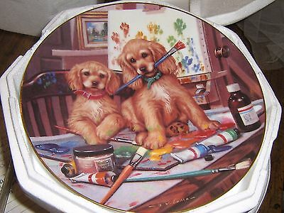 Budding Artists Cocker Spaniels Collector Plate by Hamilton New In Box w/COA