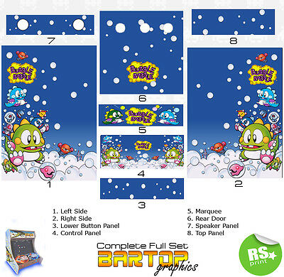 Bubble Bobble Full/Half Sets Arcade Stickers Graphics / Laminated All Sizes
