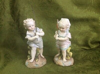 Pair Of Antique German Bisque Boy And Girl Figurines