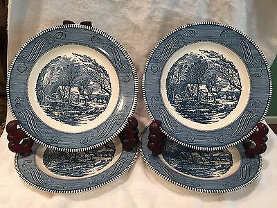 "Currier & Ives The Old Grist Mill Set Of 4 Blue 10""Dinner Plates Made In The USA"