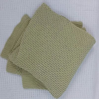 Pottery Barn Apple Green Chenille Throw Blanket 50x60 inches Super Soft!