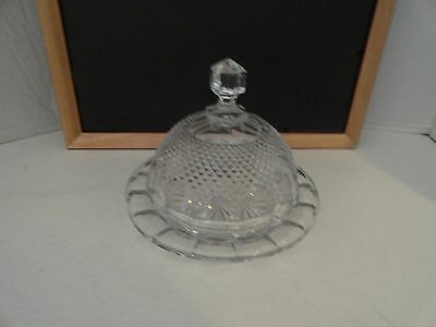 VINTAGE - CUT CRYSTAL CLEAR GLASS ROUND BUTTER DISH - w/ DOME  TOP  LID -  EC