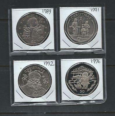 GIBRALTAR - FOUR different Christmas 50 Pence - 1989, 1991, 1992, 1996 - P/L BU