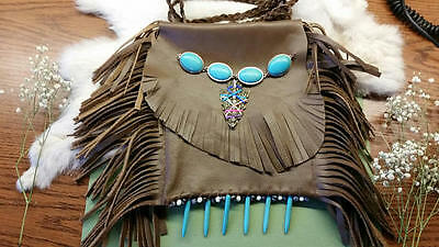 OOAK Leather Bag/Pouch with Multi-colored Arrow Head and Tourquise Decorations