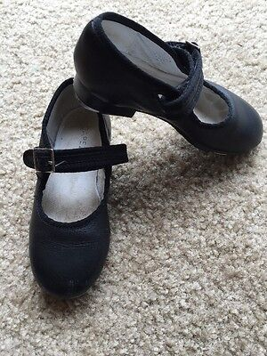 Capizio Girls Tele ToNe Black Leather Buckle Tap Shoes 9