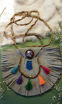 OOAK Leather half moon Bag/Pouch with Multi-colored pendant and hanging fringes