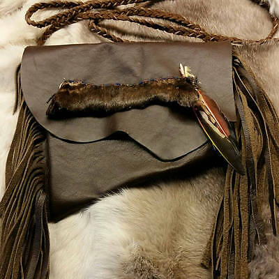 OOAK Leather Medicine Bag/Pouch with Skin and bead decoration - Regalia
