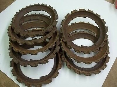 Lot Of Eight Old Cast Iron Farm Barn Implement Planter Plates Steam Punk